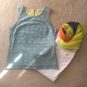Boden 6 turquoise yellow sleeveless eyelet top